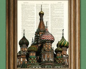 Saint Basil's Cathedral in Moscow beautifully upcycled dictionary page book art print St. Basils