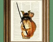 Squeaky the Samurai Squirrel with sword and armor illustration beautifully upcycled dictionary page book art print