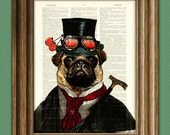 "Steampunk Pug ""Inquisitor Percy U. Pugington, Esq."" illustration beautifully upcycled dictionary page book art print"