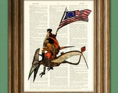President George Washington riding a Pterodactyl Dinosaur beautifully upcycled dictionary page book art print General Washington