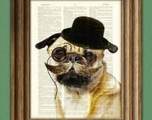 Dapper Doug Gentleman PUG dog art print illustration beautifully upcycled dictionary page book art print