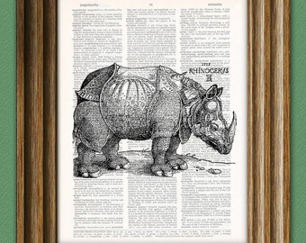 RHINOCEROS beautifully upcycled vintage dictionary page book art print 8.5 x 11 altered