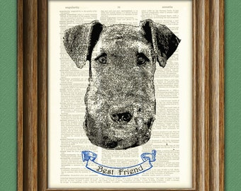 AIREDALE TERRIER dog beautifully upcycled vintage dictionary page book art print PERSONALIZED