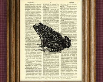 BULLFROG beautifully upcycled vintage dictionary page book art print altered