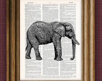 Awesome elephant beautifully upcycled vintage dictionary page book art print