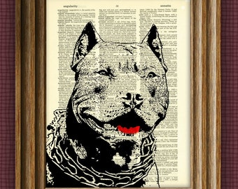 PIT BULL dog beautifully upcycled vintage dictionary page book art print pitbull