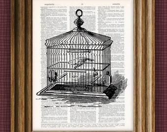 Vintage DICTIONARY Art Print - antique birdcage