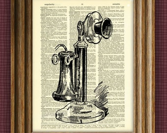 ANTIQUE CANDLESTICK TELEPHONE beautifully upcycled vintage dictionary page book art print