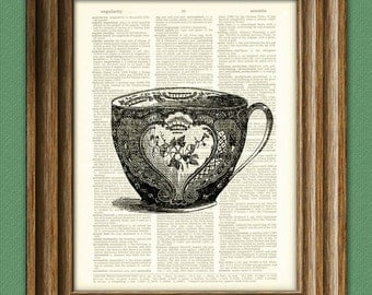 Antique teacup awesome upcycled vintage dictionary page book art print