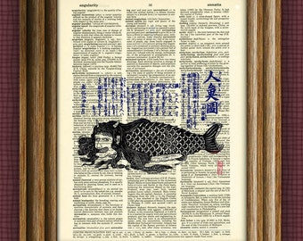 JAPANESE MERMAID print  over an upcycled vintage dictionary page book art