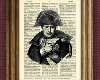 NAPOLEON BONAPARTE art print over an upcycled vintage dictionary page book art
