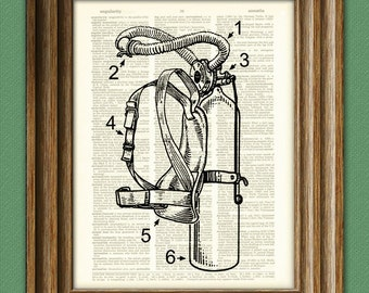 SCUBA Diving aqualung air tanks gear illustration beautifully upcycled dictionary page book art print