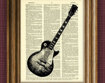 Dictionary Page Gibson Les Paul Guitar illustration beautifully upcycled book art print