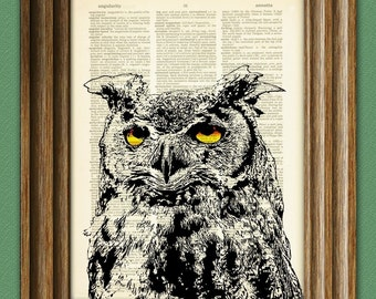 Great Horned Owl beautifully upcycled vintage dictionary page book art print