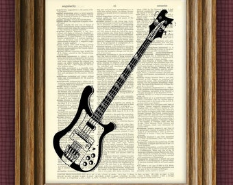 Rickenbacker Electric Bass Guitar Ricky illustration beautifully upcycled dictionary page book art print