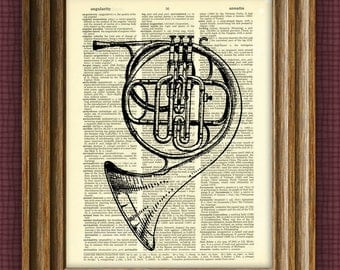 FRENCH HORN illustration beautifully upcycled dictionary page book art print