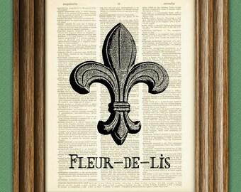 Fleur-de-lis beautifully upcycled vintage dictionary page book art print fleur de lis