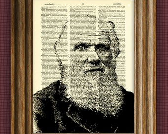 CHARLES DARWIN illustration beautifully upcycled dictionary page book art print