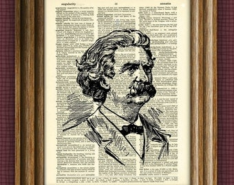 MARK TWAIN Print Samuel Langhorne Clemens print over an upcycled vintage dictionary page book art