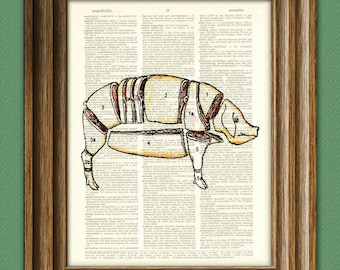 Pig CUTS OF PORK diagram beautifully upcycled vintage dictionary page book art print
