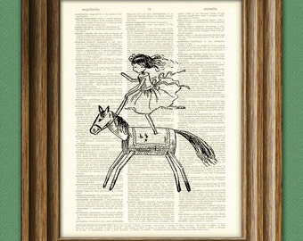 Little cork girl on a matchstick horse altered art dictionary page illustration book print
