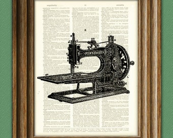 Antique SEWING MACHINE altered art dictionary page illustration book print