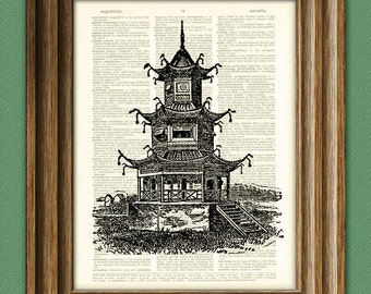 Ancient CHINESE TEMPLE print over an upcycled vintage dictionary page book art 2