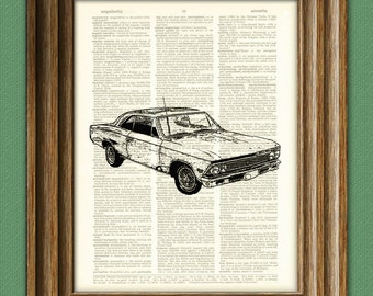 1966 Chevelle Malibu '66 car beautifully upcycled dictionary page book art print 8.5 x 11