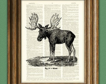 Cool Moose illustration beautifully upcycled dictionary page book art print