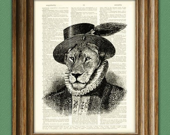 Sir Walter Lion Big Cat illustration beautifully upcycled dictionary page book art print