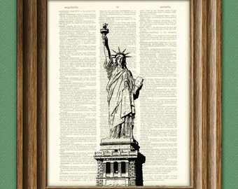 Statue of Liberty beautifully upcycled dictionary page book art print