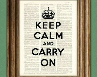 Keep Calm And Carry On Print quote upcycled vintage dictionary page book art print Buy 3 get 1 Free