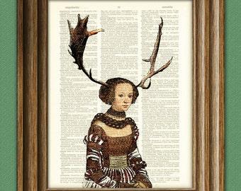Eco Friendly Art Woodlands Antler Girl illustration beautifully upcycled dictionary page book art print
