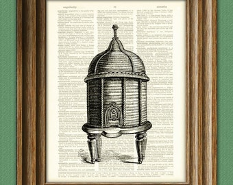 Bee Keeper Beehive illustration beautifully upcycled dictionary page book art print