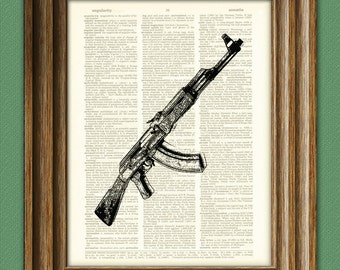 AK-47 Machine Gun print over an upcycled vintage dictionary page book art