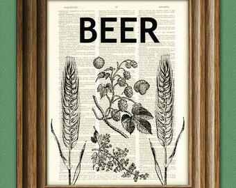 Hops, Barley, and Beer beautifully upcycled dictionary page book art print