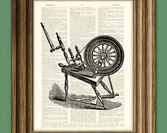 Antique SPINNING WHEEL print over an upcycled vintage dictionary page book art