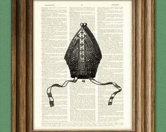 Pope PAPAL Hat mitre illustration beautifully upcycled dictionary page book art print