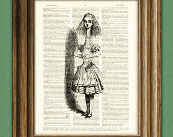 ALICE GROWS TALL with shadow Alice in Wonderland beautifully upcycled vintage dictionary page book art print