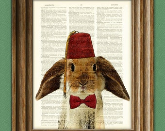 Fraternal Lop BUNNY RABBIT with tassled FEZ and a bow tie illustration beautifully upcycled dictionary page book art print