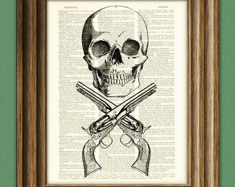 Skull and crossed REMINGTON revolvers gun beautifully upcycled dictionary page book art print 8.5 x 11