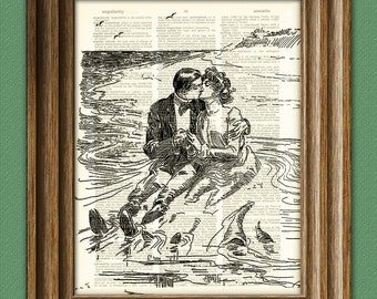 Tidal Pool Lovers Valentine's Day Couple illustration beautifully upcycled dictionary page book art print