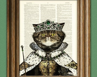 Dictionary Art Print Princess pretty kitty royal cat with emerald tiara, robes, and scepter illustration dictionary page book art print