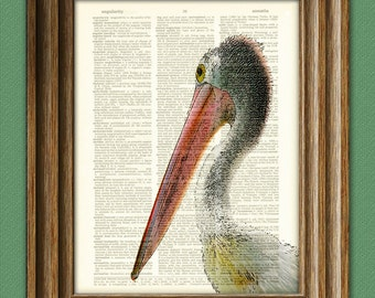 Cool STORK beautifully upcycled vintage dictionary page book art print