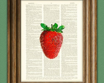 LUSCIOUS RED STRAWBERRY Yumtastic beautifully upcycled dictionary page book art print