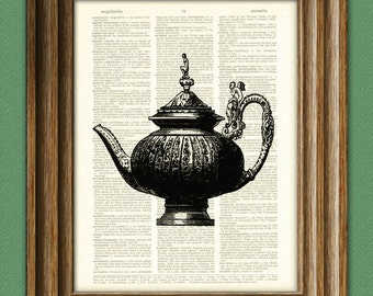 VICTORIAN TEAPOT print over an upcycled vintage dictionary page book art