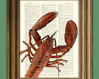 Get Back in the Pot RED LOBSTER over an upcycled vintage dictionary page book art print