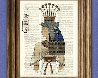 Egyptian Queen Nebto daughter of Ramesses II illustration dictionary page book altered art print
