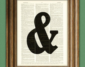 AMPERSAND and WORD ART print over an upcycled vintage dictionary page book art