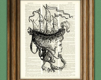 Marie Antoinette with Boat Hat illustration beautifully upcycled dictionary page book art print